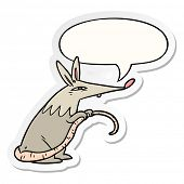 cartoon sneaky rat with speech bubble sticker poster