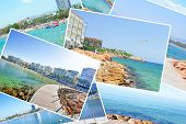 Salou Collage, Sunny Beach Travel Vacation. Sunny Summer Beach Travel Vacation. Collage With Popular poster