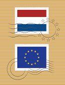 Постер, плакат: Марки с флагом Нидерландов и ЕС