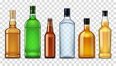Bottles Of High Spirit Alcohol Drinks Isolated On Transparent. Vector Vodka, Craft Beer And Brandy,  poster