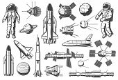 Space And Astronomy Isolated Monochrome Icons. Vector Spaceman Suit And Rocketship, Aircraft And Shu poster