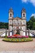 Braga, Portugal. Basilica of Bom Jesus do Monte Sanctuary seen from the Pelican Square. Portuguese a poster