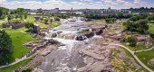 Aerial panorama of the falls in Sioux Falls, South Dakota and Falls Park. poster