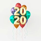 New Year 2020 Celebration Background. Golden Numerals 2020, Floating Glossy Balloons. Realistic Illu poster