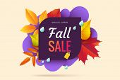 Fall Sale Banner Design. Autumn Sale Sticker Template. Abstract Geometric Background With Colorful F poster