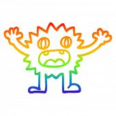rainbow gradient line drawing of a cartoon funny furry monster poster