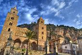stock photo of sicily  - The cathedral in small city of Cefalu in Sicily - JPG