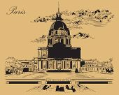 Vector Hand Drawing Illustration Of National Residence Of The Invalids (paris, France). Landmark Of  poster