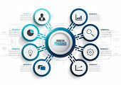 Vector Infographic Template With 3d Paper Label, Integrated Circles. Business Concept With 8 Options poster
