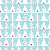 Hand Drawn Abstract Christmas Trees, Snowflakes, Triangles, Stars On Ice Blue Background Vector Seam poster