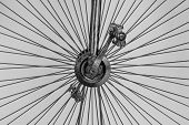 Details Of A Vintage Bike. Iron Spokes And Pedals. Black And White. poster