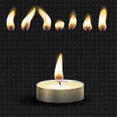 Vector 3d Burning Realistic Candle Light Or Tea Light And Different Flame Of A Candle Icon Set Close poster