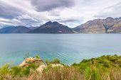 An image of a scenery at Lake Te Anau, New Zealand poster