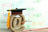 Study Abroad Education Ideas: Email Address Symbol And Graduation Cap On Formula Arithmetic Equation poster