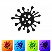 Black Bacteria Icon Isolated On White Background. Bacteria And Germs, Microorganism Disease Causing, poster