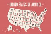 Poster Map United States Of America With State Names poster