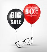 Eyeglasses Sale Banner Concept. Black Optical Glasses On White Background. Dioptrical Glasses. Ophth poster