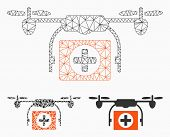 Mesh Medical Drone Model With Triangle Mosaic Icon. Wire Frame Polygonal Network Of Medical Drone. V poster
