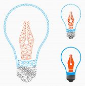Mesh News Maker Bulb Model With Triangle Mosaic Icon. Wire Frame Triangular Mesh Of News Maker Bulb. poster