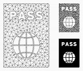 Mesh Passport Model With Triangle Mosaic Icon. Wire Carcass Triangular Mesh Of Passport. Vector Mosa poster