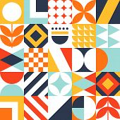 Abstract Seamless Bauhaus Pattern. Vector Colorful Geometric Background. poster