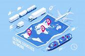 Global Logistics Network Flat 3d Isometric Illustration Icons Set Of Air Cargo Trucking Rail Transpo poster