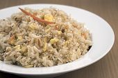 Bowl Of Fried Rice. A Close Up Of A Bowl Of Vegetable Fried Rice. poster