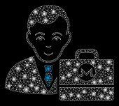 Flare Mesh Monero Accounter With Lightspot Effect. Abstract Illuminated Model Of Monero Accounter Ic poster