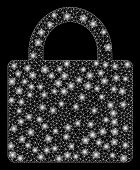 Flare Mesh Lock With Glitter Effect. Abstract Illuminated Model Of Lock Icon. Shiny Wire Carcass Pol poster