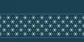 Hand Drawn Abstract Winter Snowflakes Border Pattern. Stylish Crystal Stars On Green Background. Ele poster