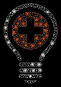Glowing Mesh Medical Bulb With Glow Effect. Abstract Illuminated Model Of Medical Bulb Icon. Shiny W poster