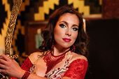 Portrait Of Beautiful Woman, Traditional Belly Dancer. Ethnic Dance. Belly Dancing. Tribal Dancing. poster