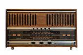 Vintage Radio Receiver - Antique Wooden Box Radio Isolate On White With Clipping Path For Object, Re poster