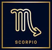 Zodiac Sign Scorpio. Horoscope. Isolated Golden Symbol On A Blue Background With A Golden Inscriptio poster