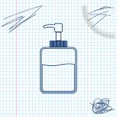 Hand Sanitizer Bottle Line Sketch Icon Isolated On White Background. Disinfection Concept. Washing G poster