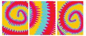 Set O 3 Tie Dye Vector Layouts. Yellow, Pink, Red And Blue Tie Dye Decorative Geometric Backgrounds  poster