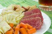 stock photo of brisket  - Corned Beef Cabbage with Carrots and Potatoes - JPG