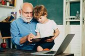 Learning And Education Concept. Grandfather And Grandchild. Little Ready To Study. Portrait Of Grand poster