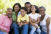 picture of extended family  - Three generation Families in a park - JPG