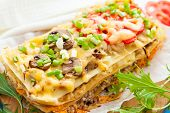 image of lasagna  - Freshly baked homemade vegetables lasagna - JPG
