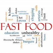 picture of grease  - Fast Food Word Cloud Concept with great terms such as unhealthy fat grease hamburger meal and more - JPG