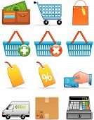 image of cash register  - Vector illustration Set of shopping icons  - JPG