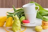 stock photo of easter_break  - easter breakfast with coffee - JPG