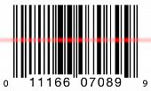 stock photo of barcode  - Scanning a barcode on a white background with a red laser scanner - JPG
