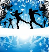 stock photo of snowball-fight  - illustration of a group of Boys enjoying a snowball fight in a downfall of snow - JPG
