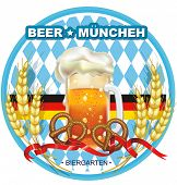 stock photo of pretzels  - Beautiful Oktoberfest Celebration design with beer and pretzel - JPG