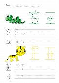 image of letter t  - Practise alphabet handwriting letters S T  on white paperworksheet - JPG