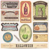 pic of wizard  - set of funny halloween stickers - JPG
