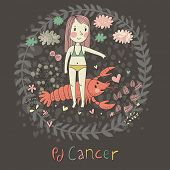 Cute zodiac sign - Cancer. Vector illustration. Little girl feeding big pink	 crayfish with heart. B