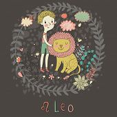 Cute zodiac sign - Leo. Vector illustration. Little boy playing with big lion. Background with flowe